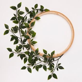 Groene bladeren die op houten cirkelkader tegen witte achtergrond worden verfraaid