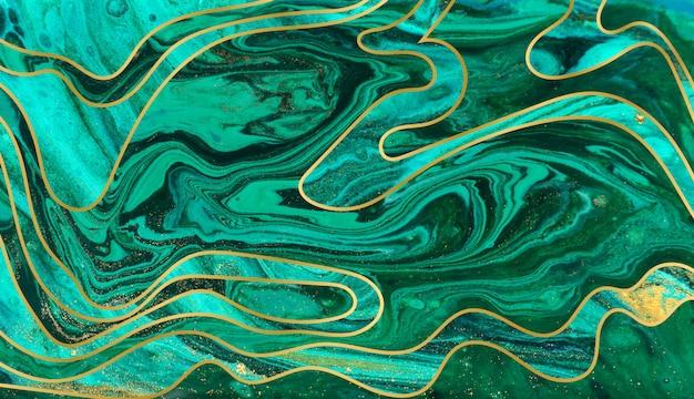 Groene, blauwe en gouden rimpelingsachtergrond. marmeren textuur met lagen. goud deeltjes.