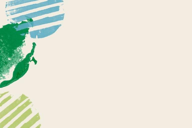 Groene blokdrukrand op beige achtergrond