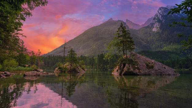 Groene bomen dichtbij meer en berg tijdens zonsondergang