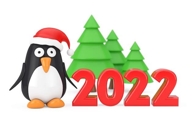Groene bomen en pinguïn stripfiguur met kerstmuts in de buurt van 2022 nieuwjaar teken op een witte achtergrond. 3d-rendering