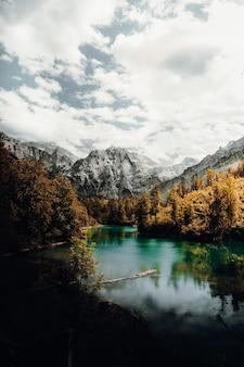 Groene bomen in de buurt van meer en berg onder witte wolken overdag