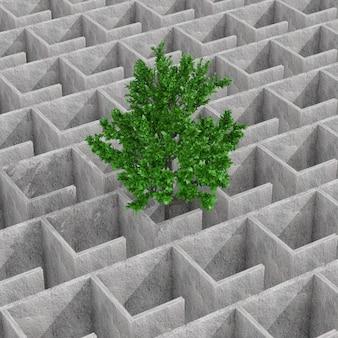 Groene boom verloren in mysterieuze oneindige betonnen doolhof labyrint structuur extreme close-up. 3d-rendering Premium Foto