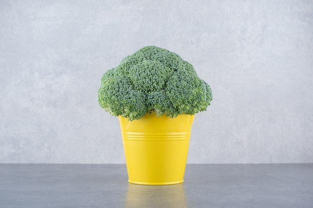 Groene broccoli geïsoleerd op grijze ondergrond