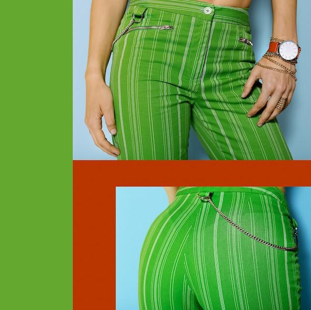 Groene broek dames en rode accessoires.. felle kleuren zomer.
