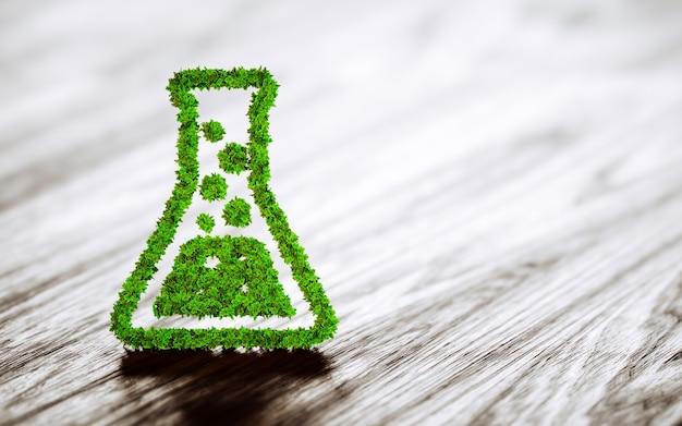Groene chemie industrie teken op zwarte houten achtergrond. 3d-weergave.