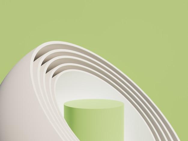 Groene cilindrische productstandaard met bolvormen erop en groene achtergrond. 3d-weergave