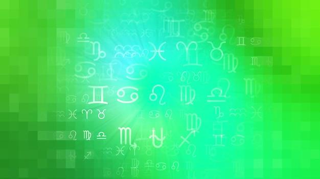 Groene dierenriem astrologie horoscoop patroon textuur achtergrond, grafisch ontwerp