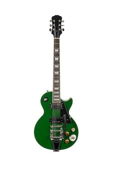 Groene elektrische gitaar geïsoleerd over wit oppervlak