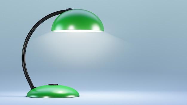 Groene elektrische tafellamp brandt.