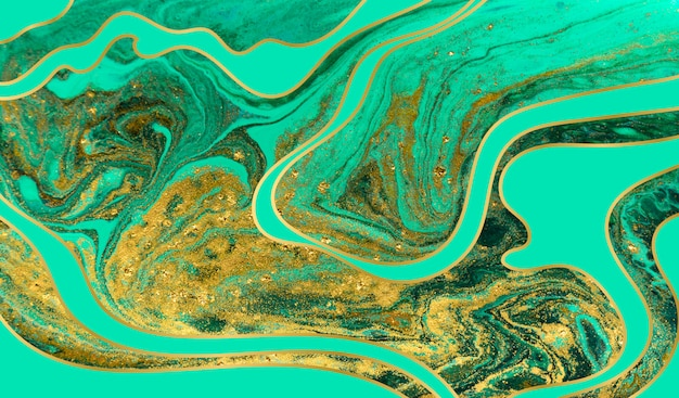 Groene en gouden rimpelingsachtergrond. gouden marmeren textuur.