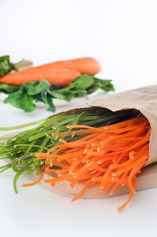 Groene en oranje rauwe italiaanse pasta en zijn natuurlijke plantaardige kleurstoffen