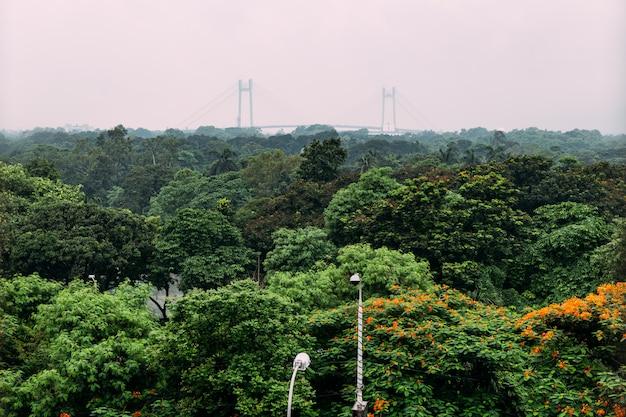 Groene en rode bladbomen in het park van hierboven met vidyasagar setu, die ook als de tweede hooghly-brug op de achtergrond in kolkata, india wordt bekend.