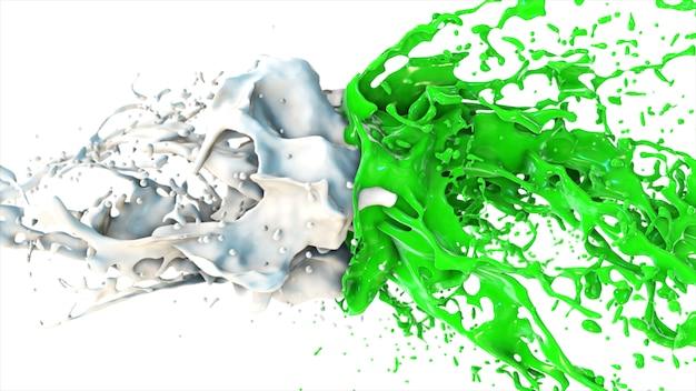 Groene en witte vloeistof botsen, druppels ploeteren vliegen in de zijkanten op een wit geïsoleerde achtergrond