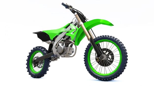 Groene en zwarte sportfiets voor in het hele land op een witte achtergrond. racing sportbike. moderne supercross crossmotor crossmotor