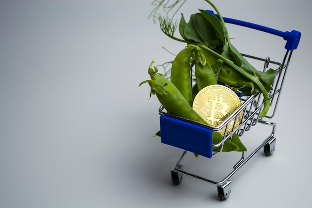 Groene erwten in de kar die bitcoin inleveren voor bitcoins