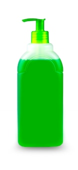 Groene fles shampoo op witte achtergrond