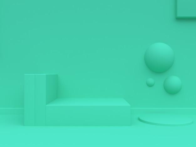 Groene geometrische abstracte achtergrond minimale 3d-rendering