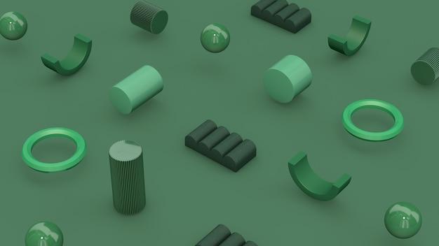 Groene geometrische vormen, abstracte illustratie, 3d render.