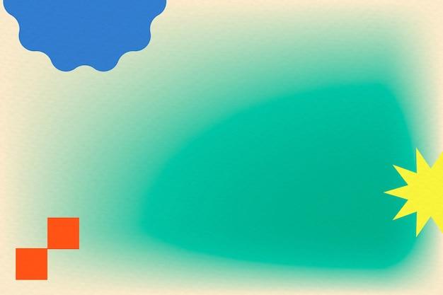Groene gradiëntachtergrond in abstracte memphis-stijl met retro rand