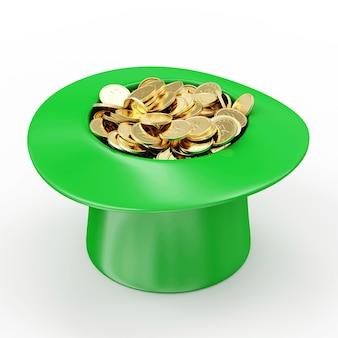 Groene kabouterhoed met gouden munten voor traditionele ierse vakantie st patricks day geïsoleerd op wit