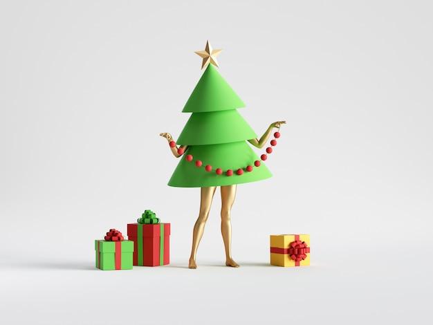 Groene kerstboom stripfiguur met mannequin benen staat in de buurt van verpakte geschenkdozen
