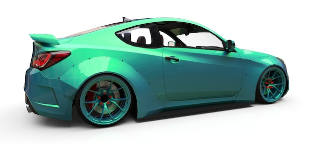Groene kleine sportwagencoupé. 3d-rendering.