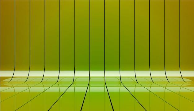 Groene linten podium 3d illustratie.