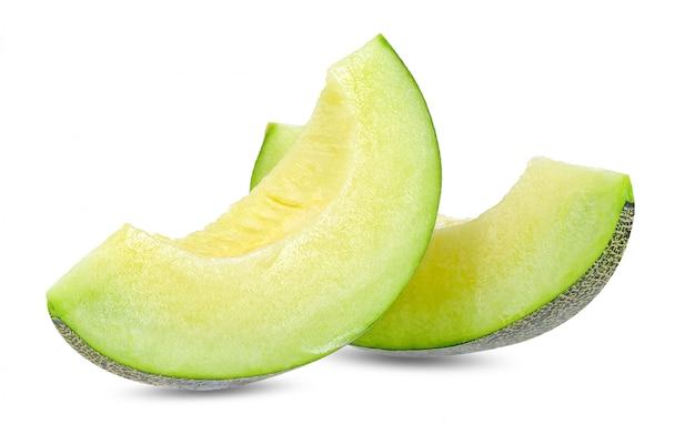 Groene meloen die op witte het knippen weg wordt geïsoleerd