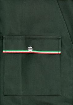 Groene militaire jas met vlag van italië