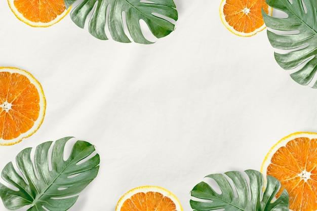 Groene monstera bladeren en sinaasappel