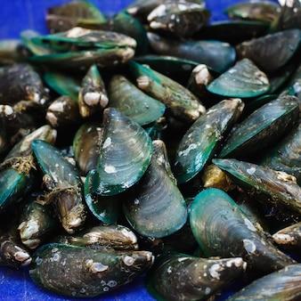 Groene mosselen op een vismarkt