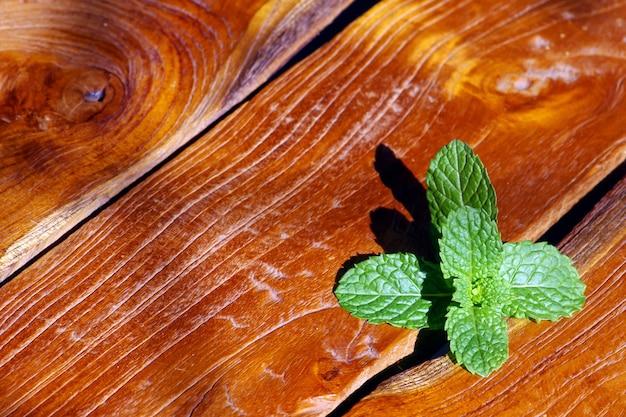 Groene muntblaadjes (mentha spicata) op teakhouten tafel