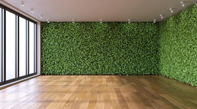 Groene muren in lege woonkamer ecostyle in interieur 3d render