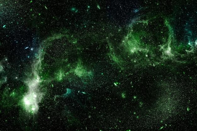 Groene nevel op een zwarte melkwegachtergrond