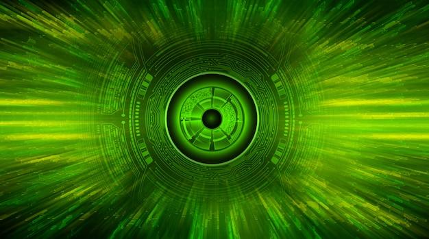 Groene oog cyber kring toekomstige technologie concept achtergrond