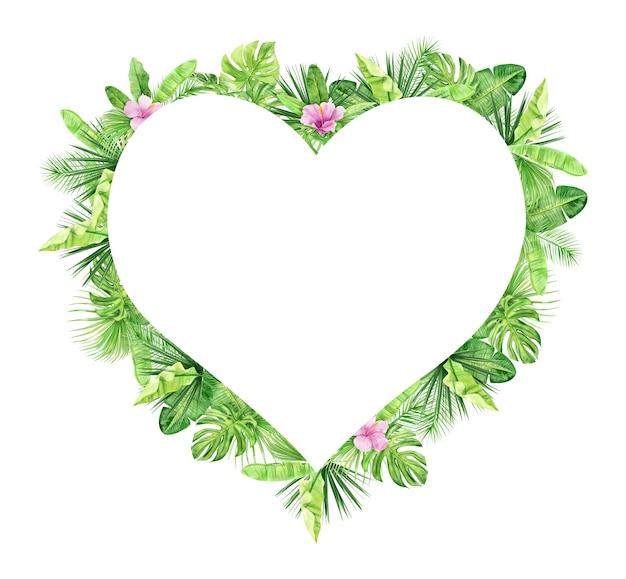 Groene palmbladeren en bloemen hart frame. tropische plant.