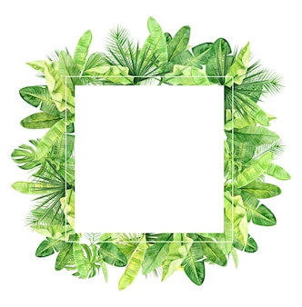 Groene palmbladeren en bloemenlijst. tropische plant. handgeschilderde aquarel illustratie geïsoleerd op wit.