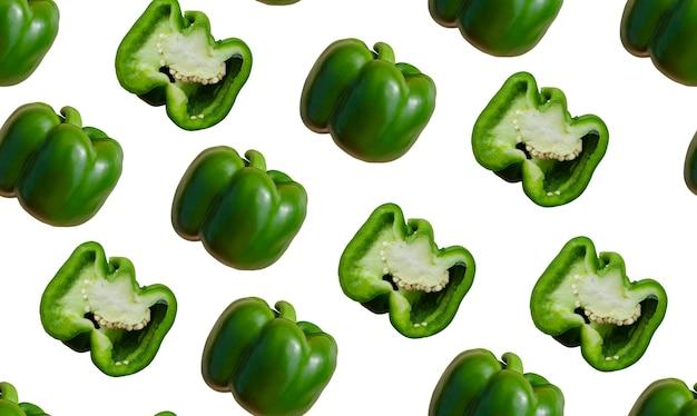 Groene paprika's naadloos patroon op een witte achtergrond hele peper en gesneden patroon