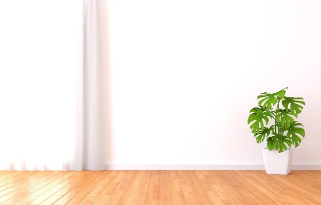 Groene plant in de zonnige witte kamer. 3d-afbeelding