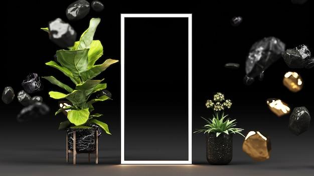 Groene planten in zwarte marmeren potten en goud met een gloeiende led-lichtkaderweergave