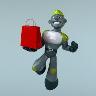 Groene robot 3d-afbeelding