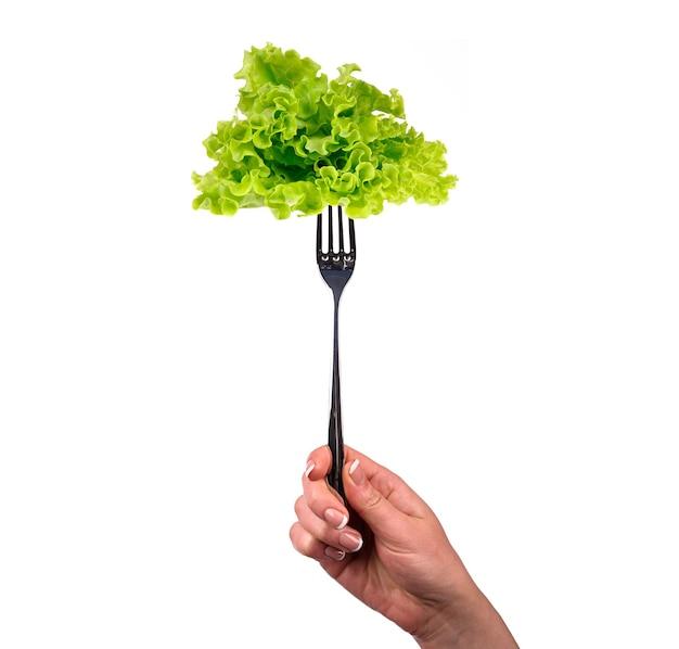 Groene salade op de vork die op wit wordt geïsoleerd