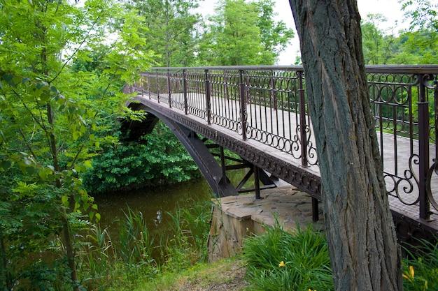 Groene schilderachtige brug over het meer in het park