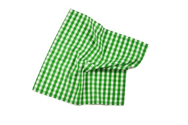 Groene servet geïsoleerd op een witte achtergrond. kopieer ruimte.