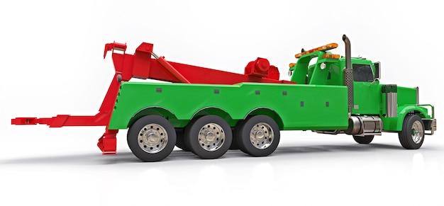 Groene sleepwagen om andere grote vrachtwagens of verschillende zware machines te vervoeren. 3d-weergave.