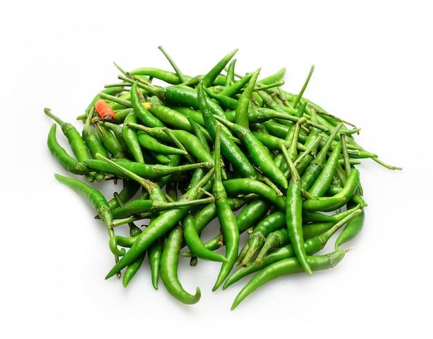 Groene spaanse peperspeper in de markt van thailand