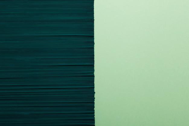 Groene spaghetti met spirulina of chlorella op groenboekachtergrond.