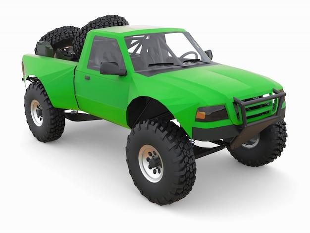 Groene sport race truck voor woestijn terrein