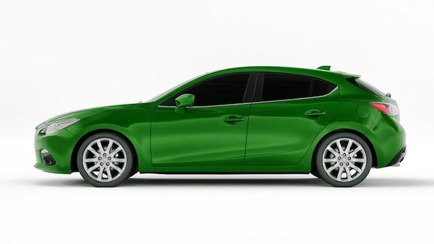 Groene stadsauto met blanco oppervlak voor uw creatieve ontwerp. 3d illustratie.